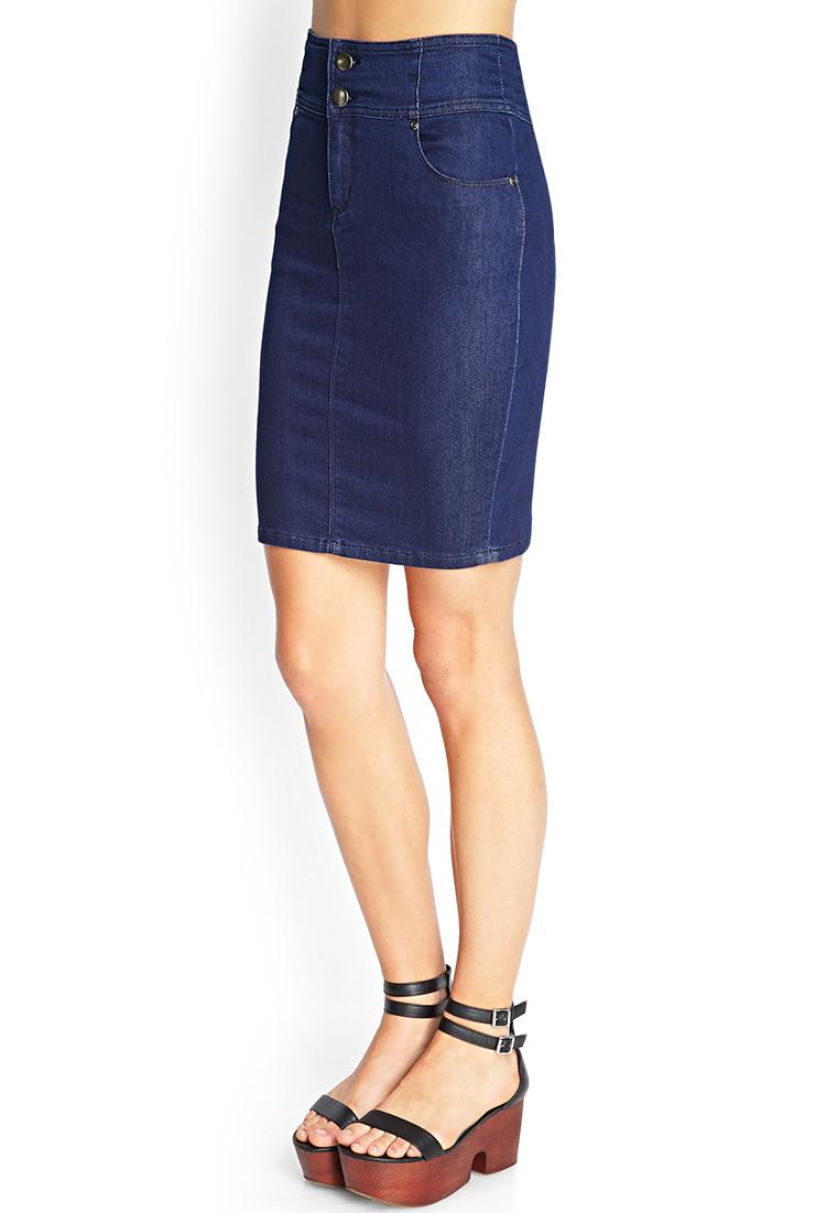 lyst forever 21 highwaisted denim skirt in blue
