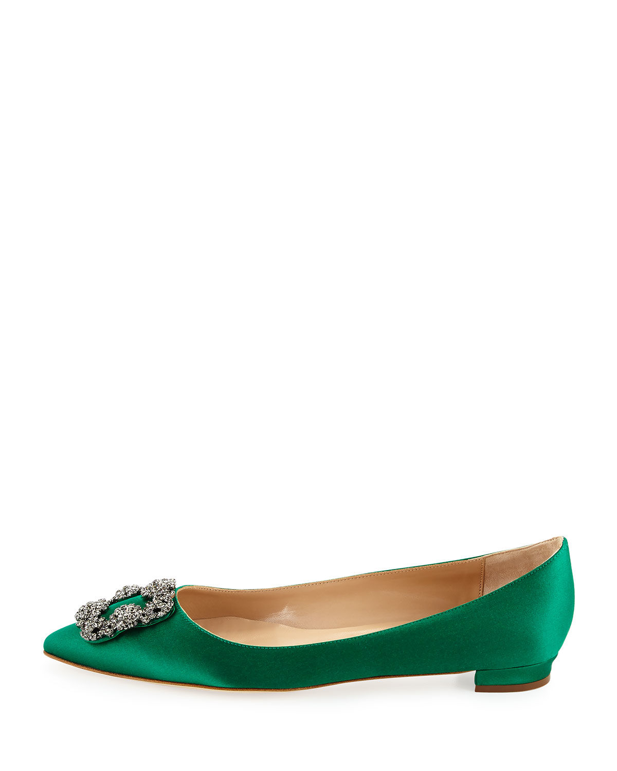 Green Dress With Pointed Flat Shoes