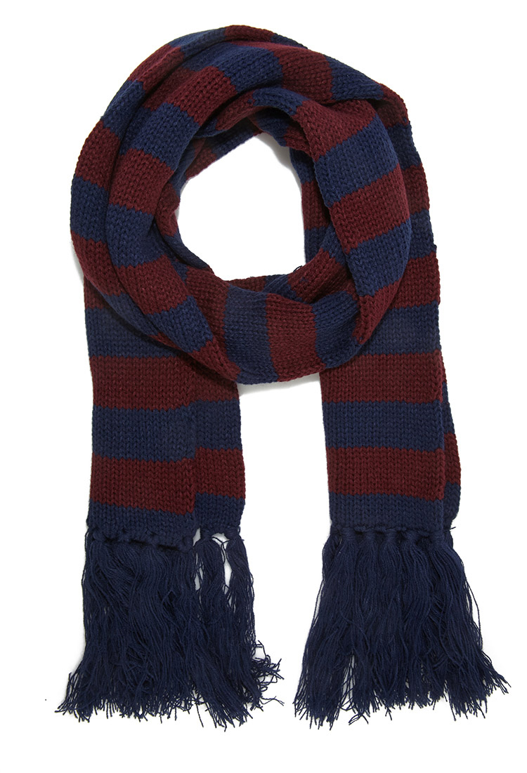 forever 21 striped fringe scarf in blue for lyst
