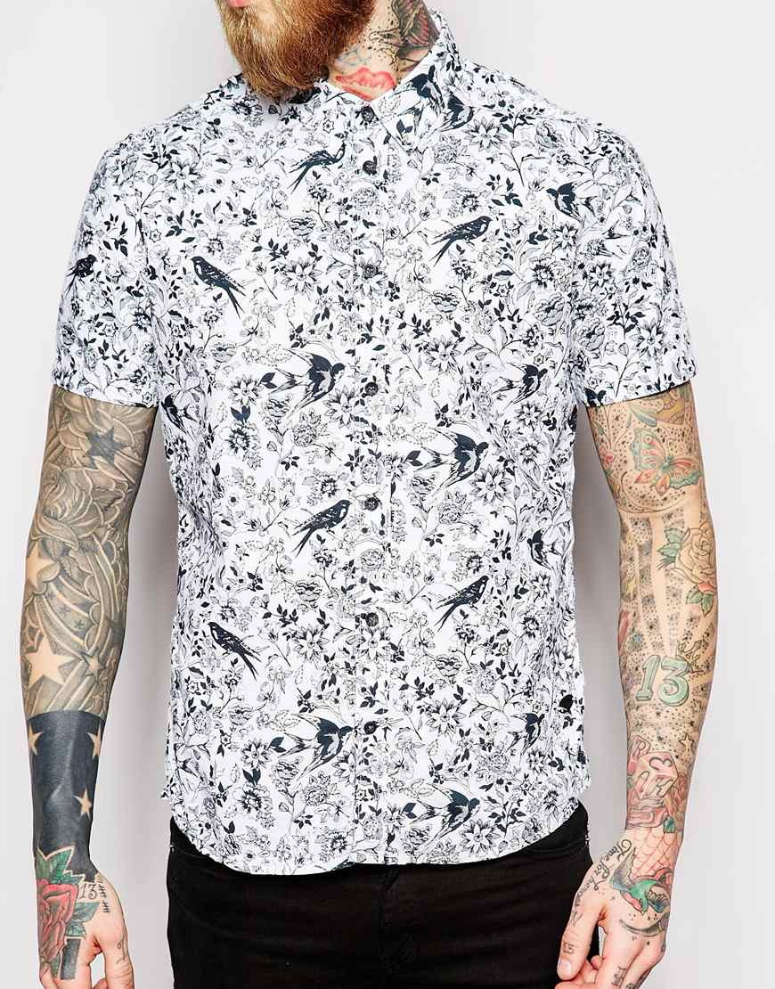Lyst Dr Denim Shirt Endo All Over Print Button Down In Blue For Men
