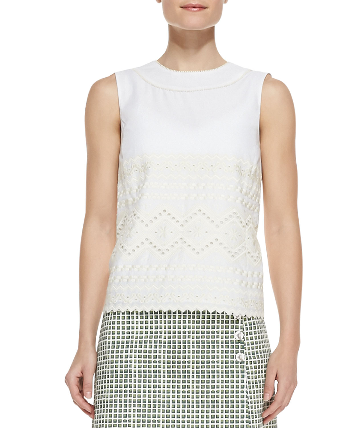 Tory burch seraphina embroidered sleeveless cotton top in for Tory burch fashion island