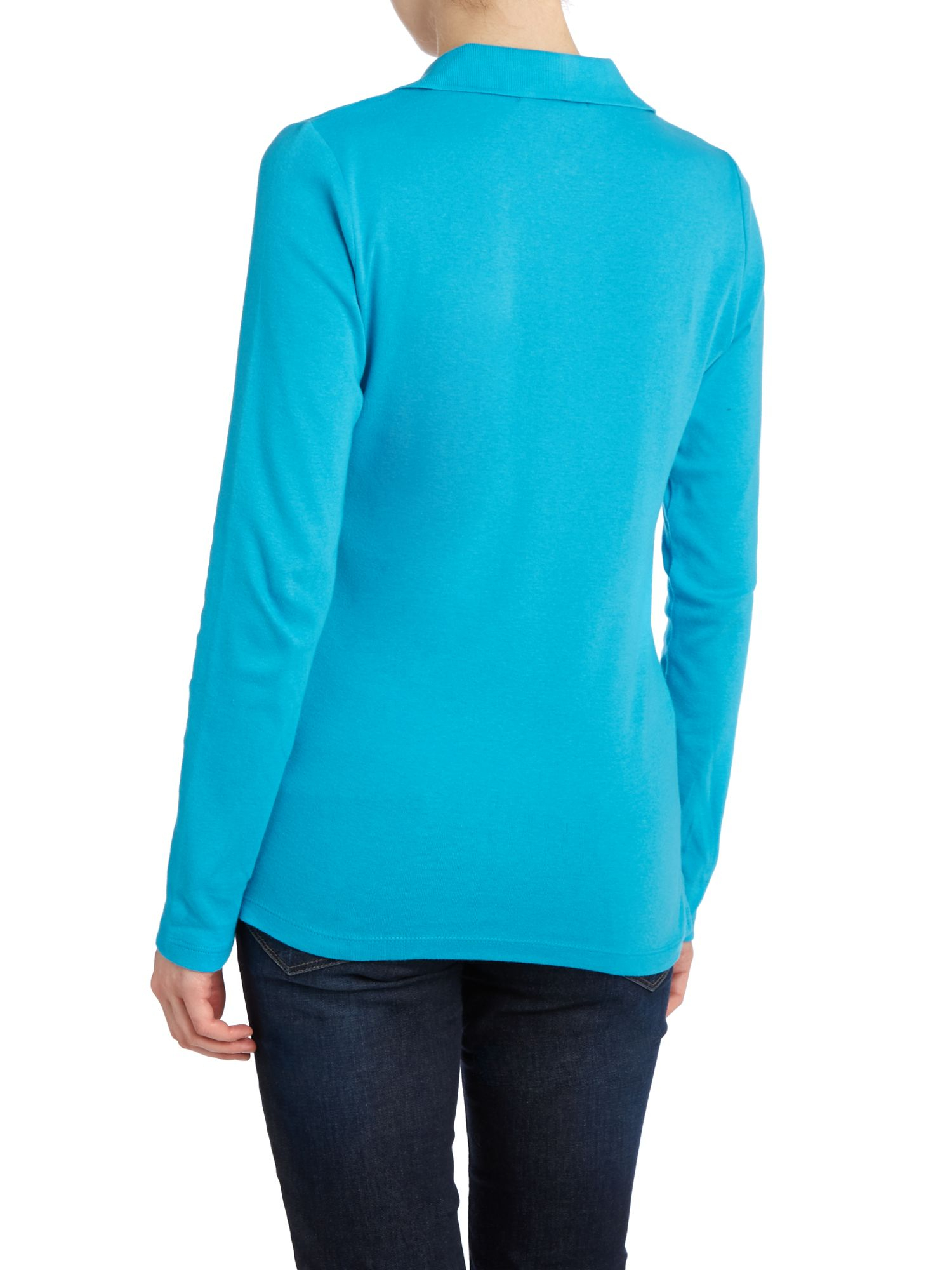 lauren by ralph lauren long sleeve polo with gold crest in blue turquoise lyst. Black Bedroom Furniture Sets. Home Design Ideas