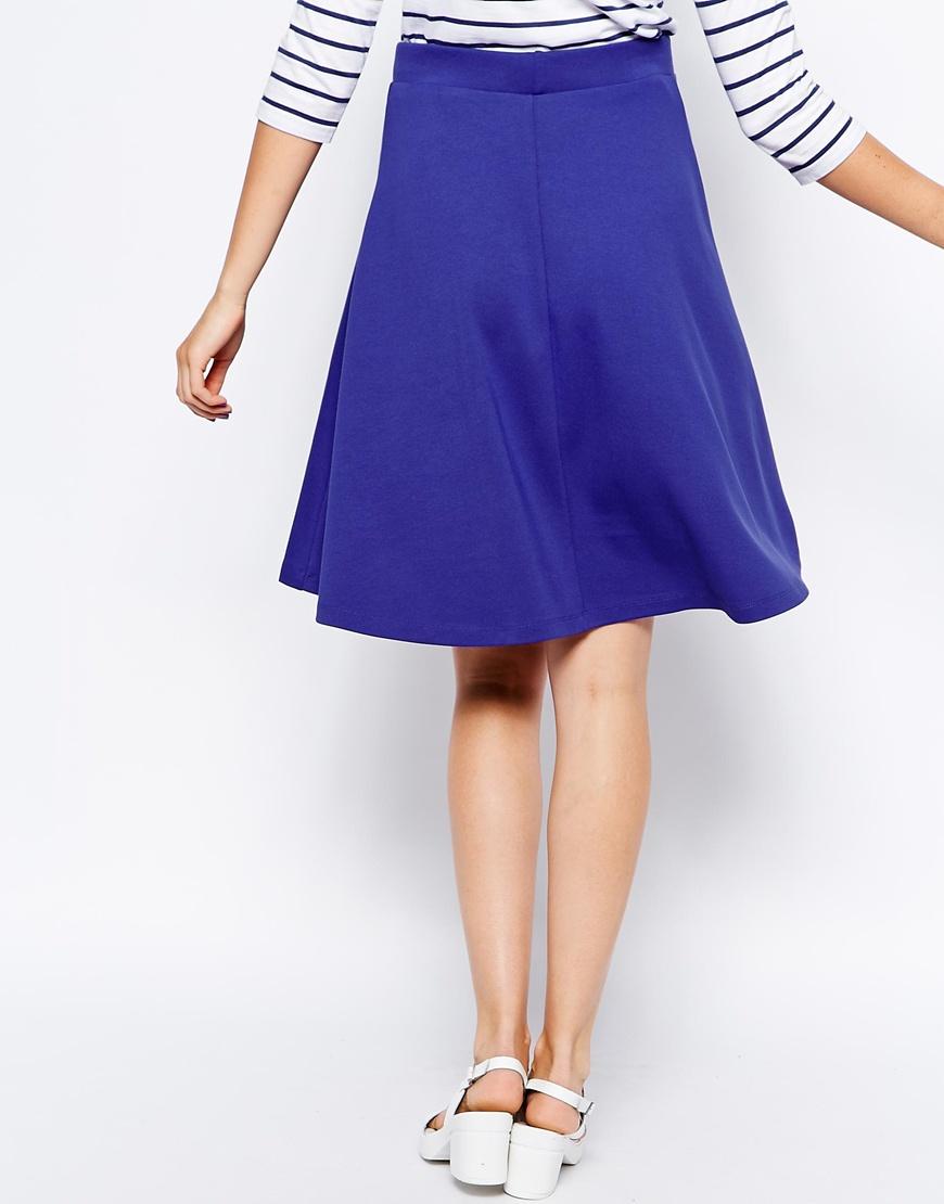 Asos Full Midi Skater Skirt in Blue | Lyst