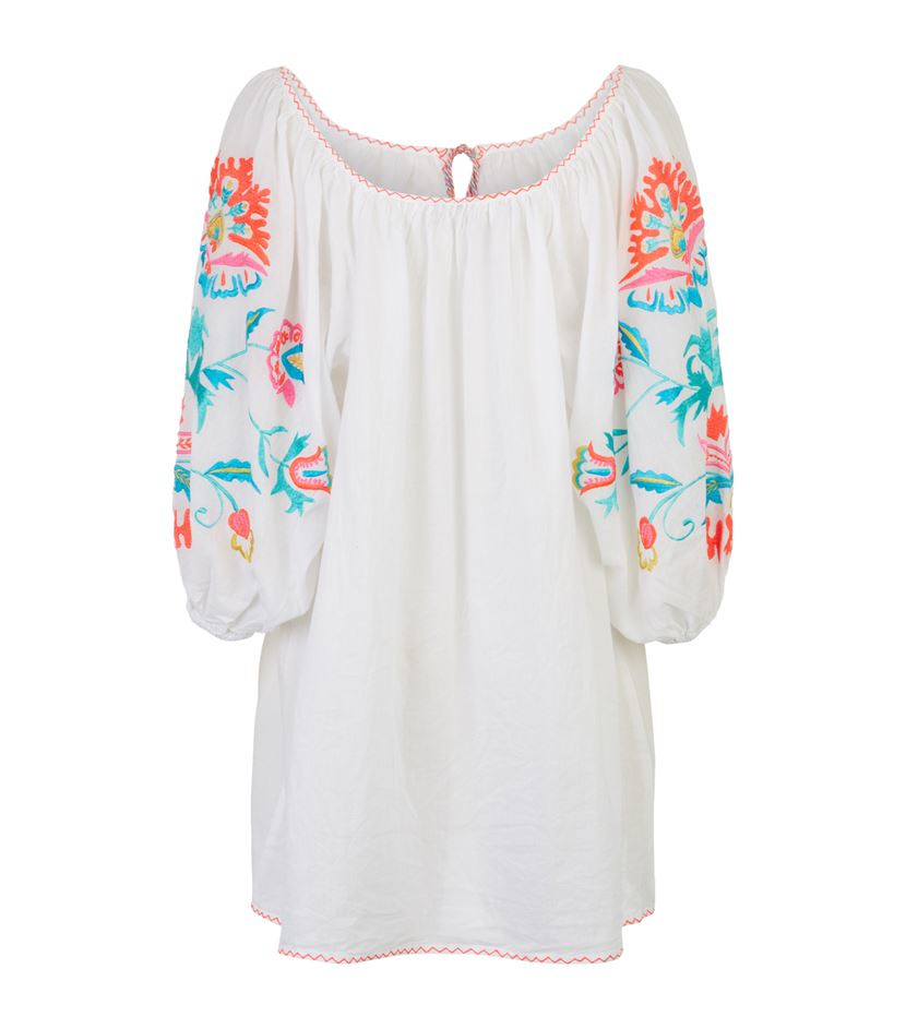 Juliet dunn mexican embroidered tunic dress in white lyst