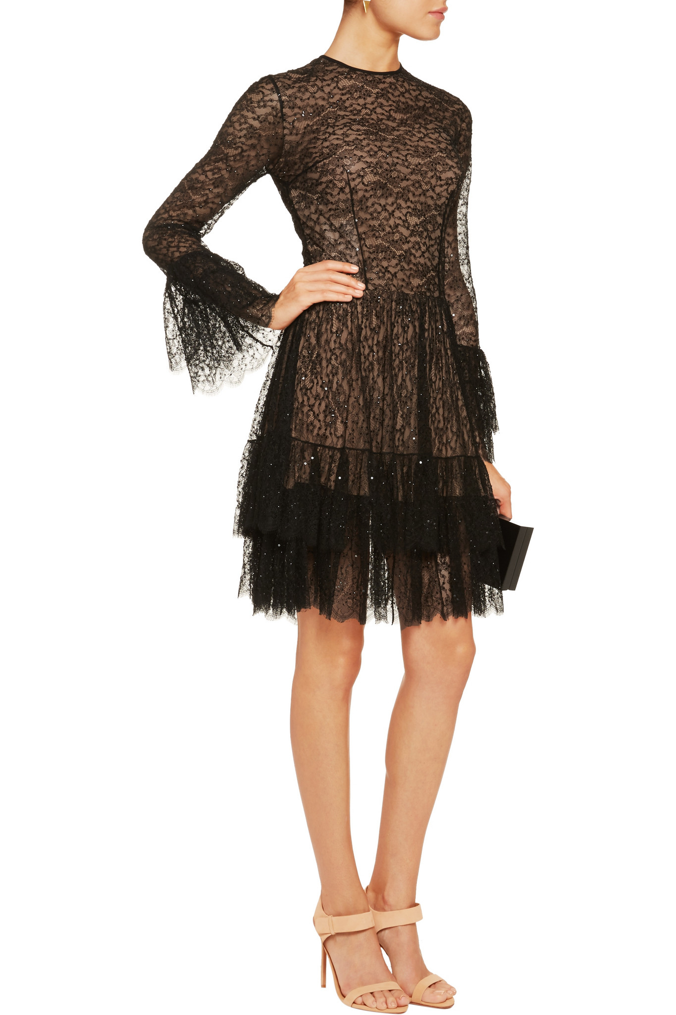 Michael Kors Sequin Embellished Tiered Chantilly Lace