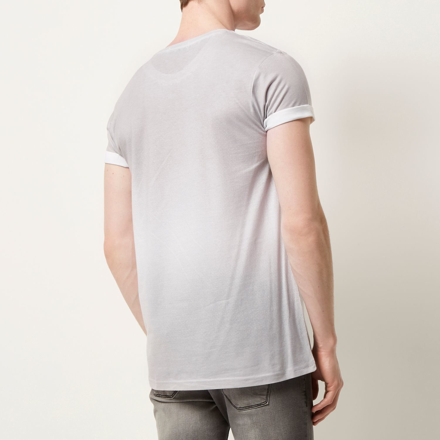 River Island Light Grey Faded Print T Shirt In Gray For