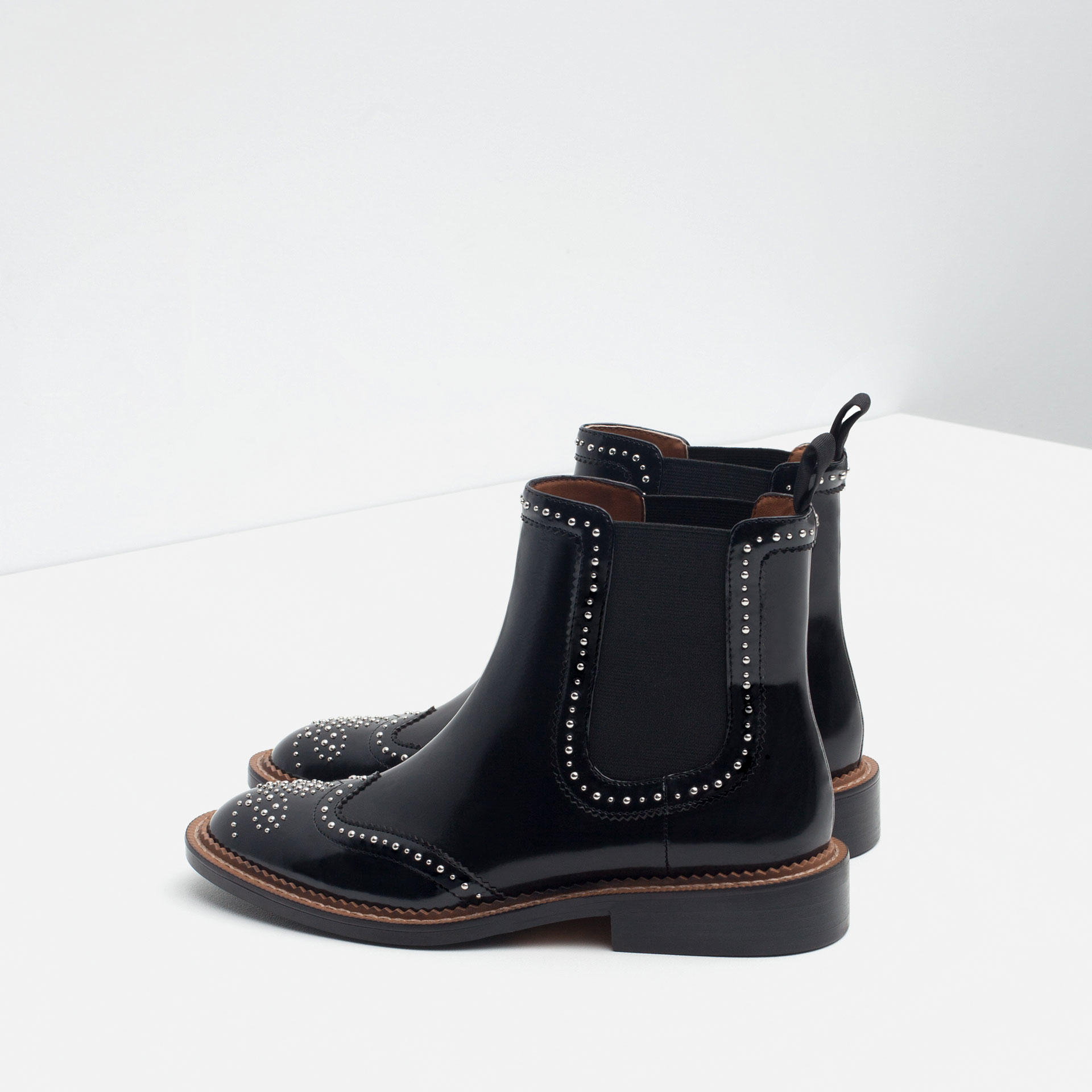Zara Micro-studded Flat Leather Booties in Black   Lyst