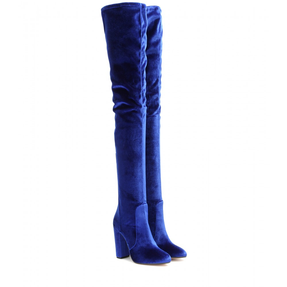 Aquazzura Velvet Over-The-Knee Boots in Blue | Lyst