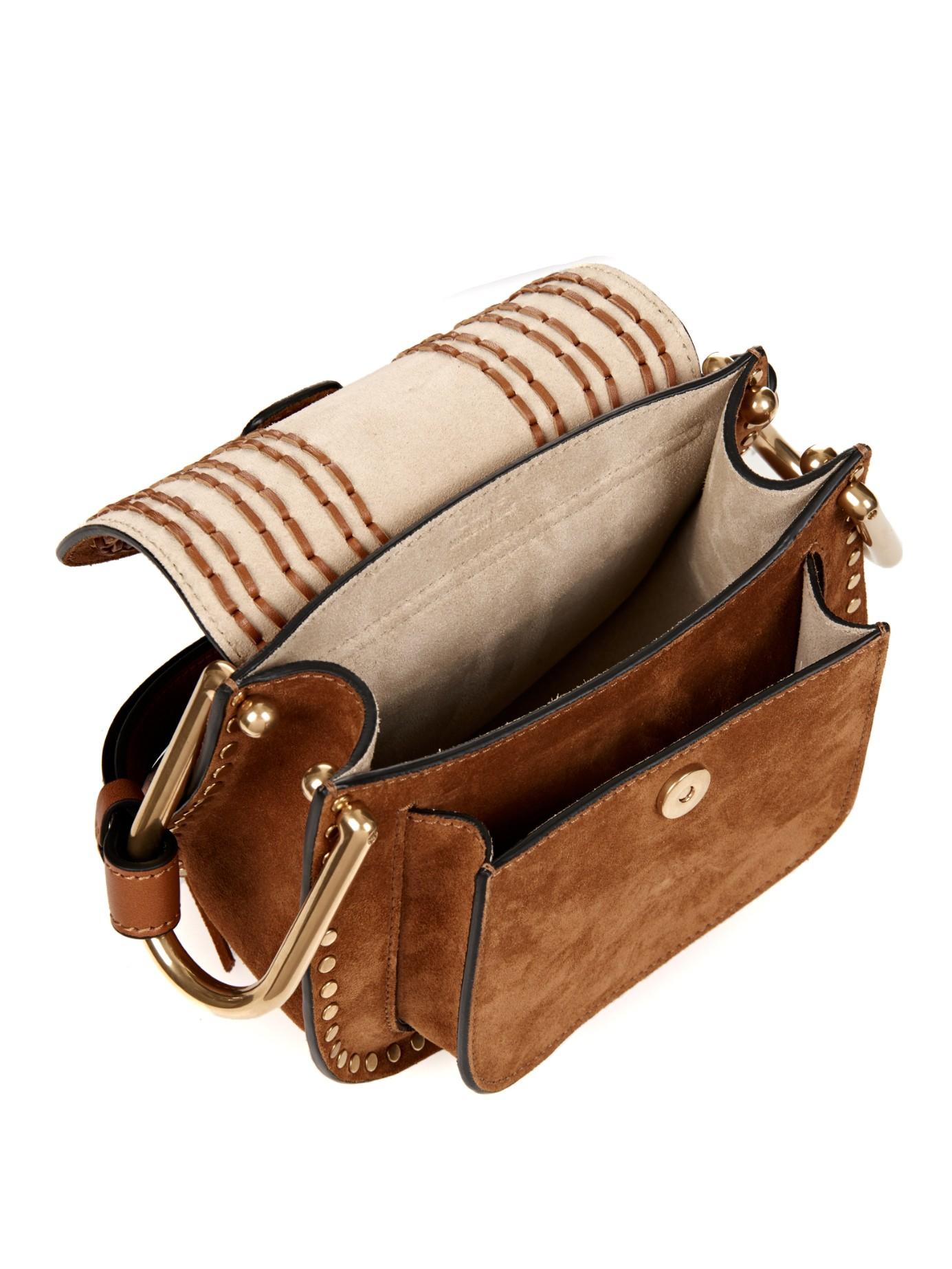 Chlo 233 Hudson Mini Suede Cross Body Bag In Tan Brown Lyst