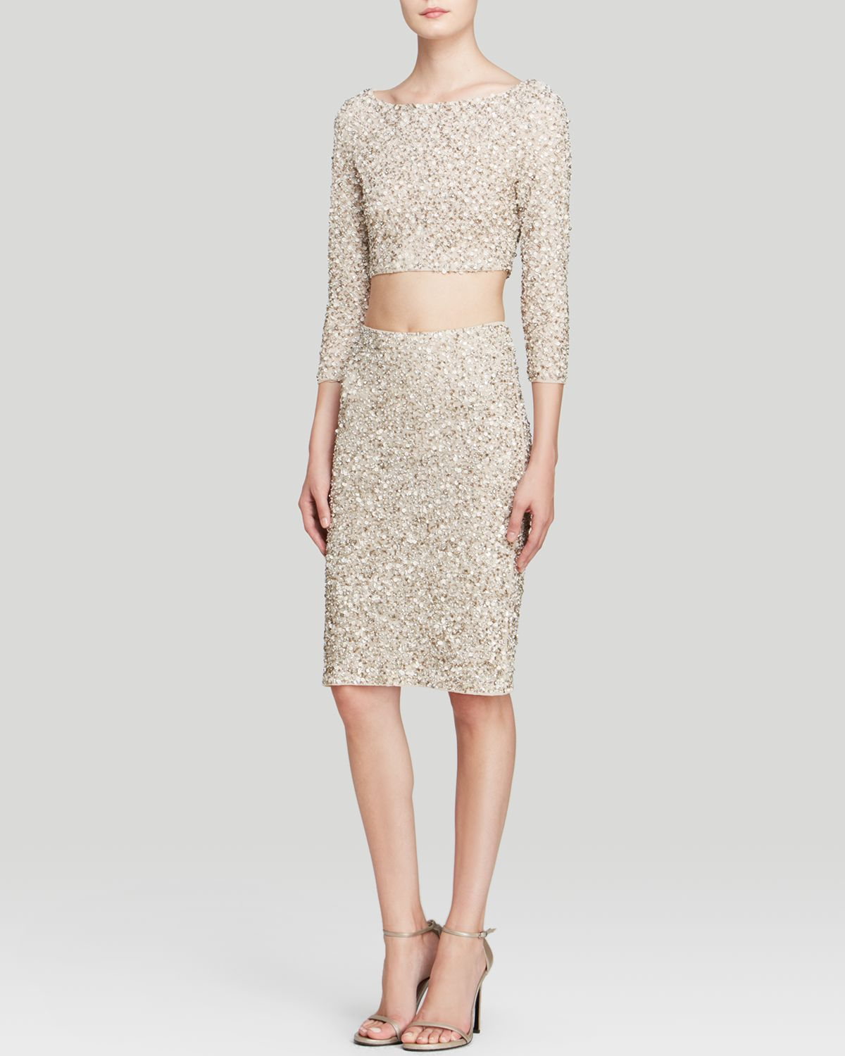 468d5138084957 Alice + Olivia Lacey Embellished Crop Top in Natural - Lyst