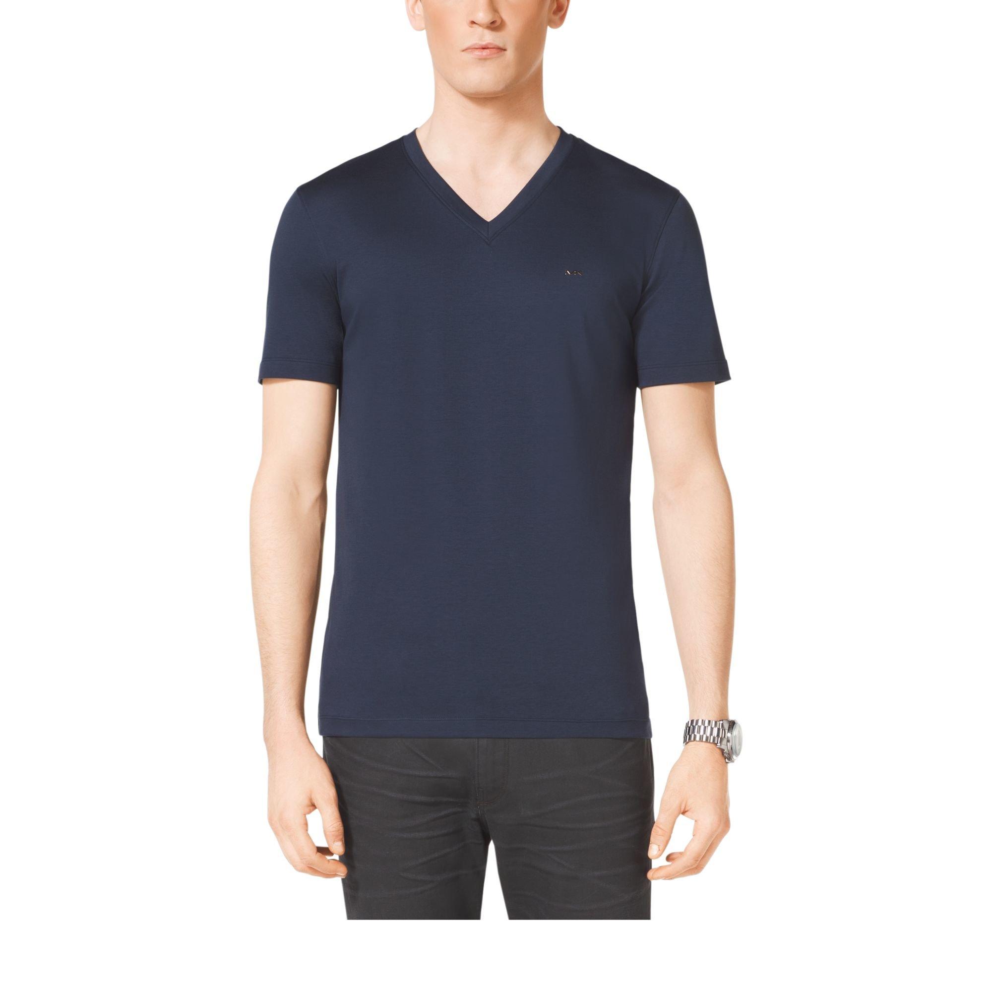 michael kors v neck cotton t shirt in blue for men midnight lyst. Black Bedroom Furniture Sets. Home Design Ideas