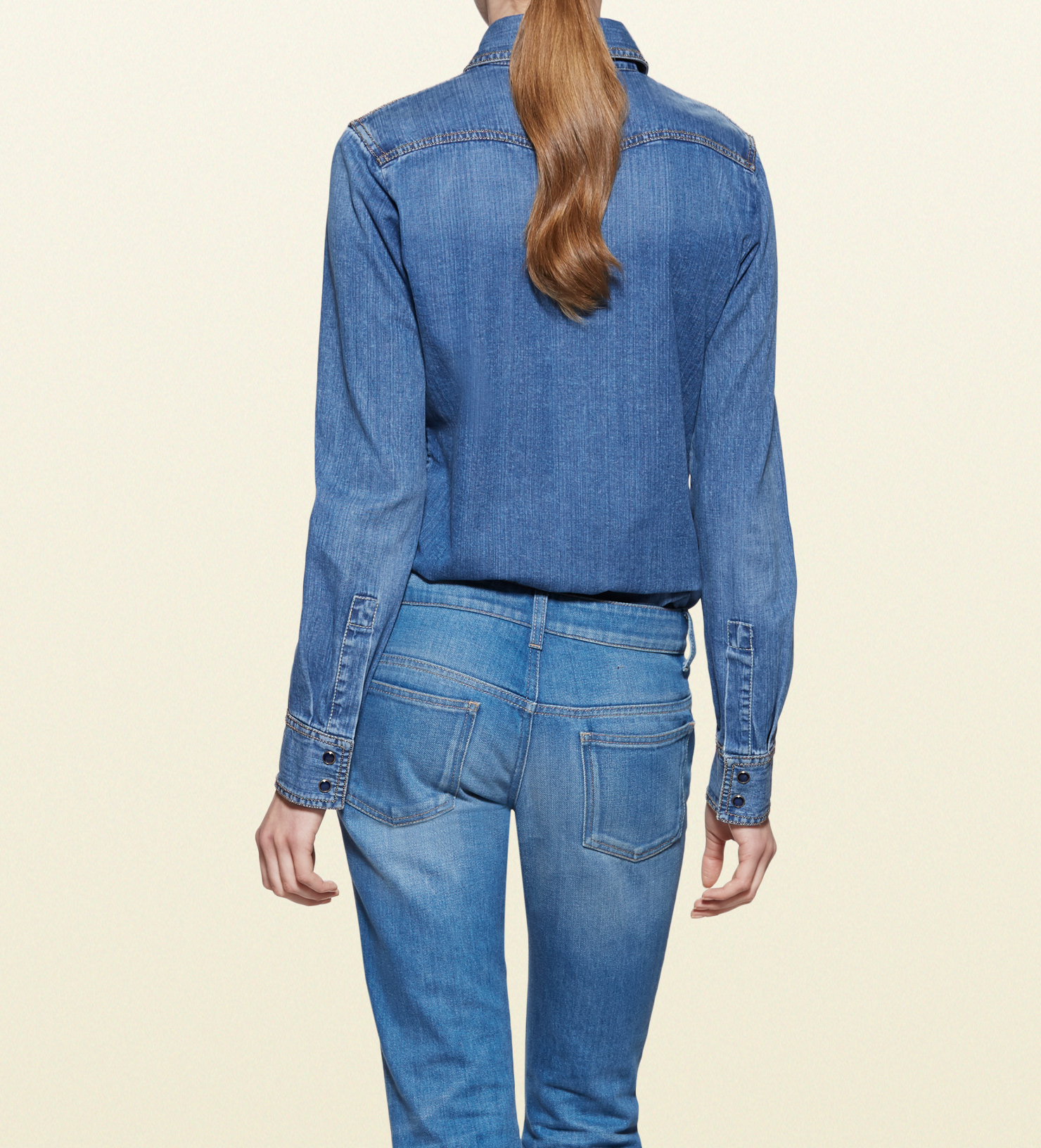 Lyst gucci denim button down shirt in blue for Denim button down shirts