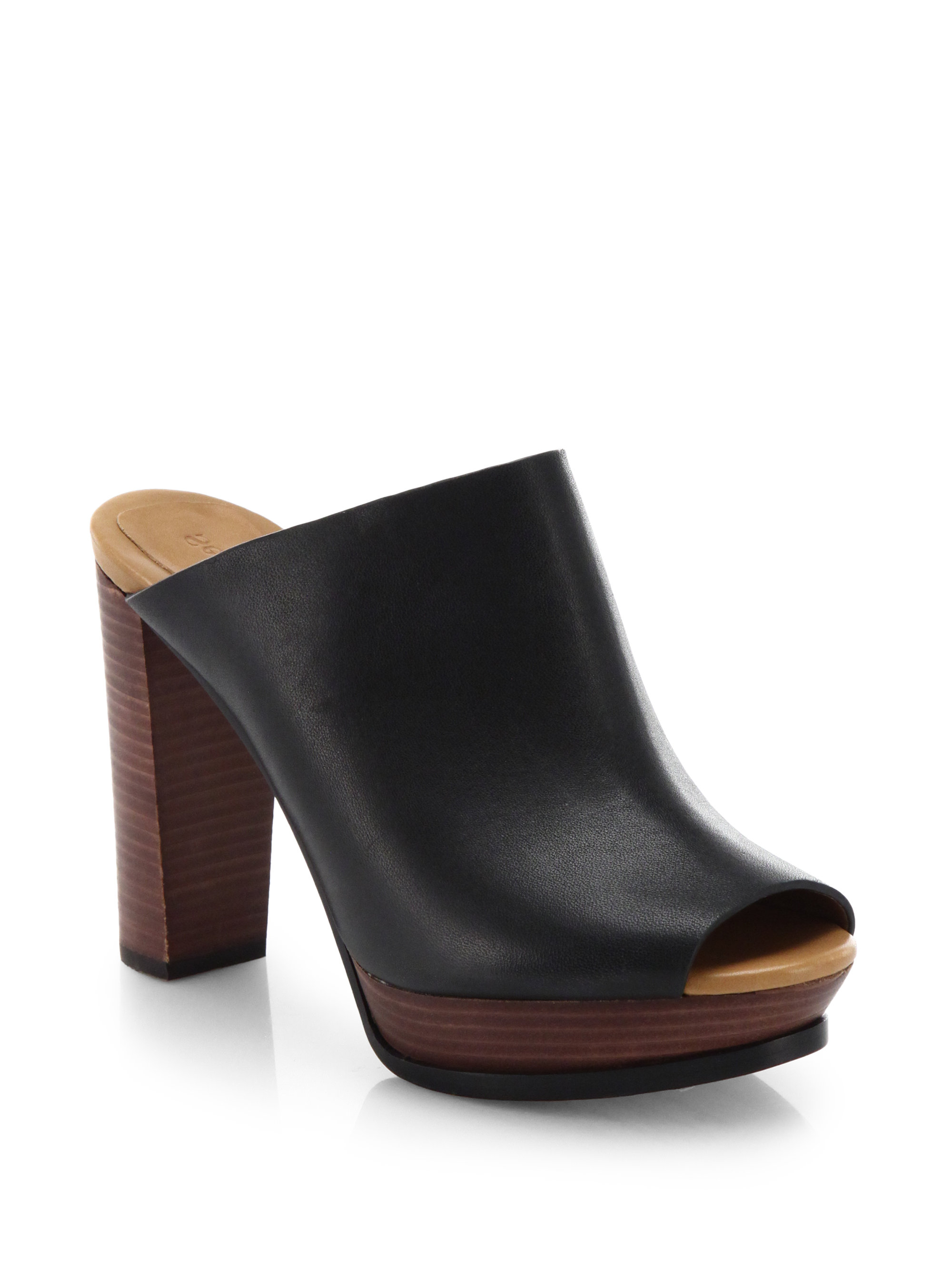 0bb278011f4f4 See By Chloé Leather Open-Toe Mules in Black - Lyst