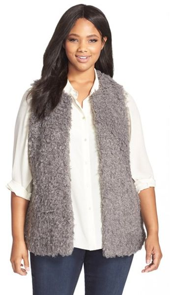 vince camuto shaggy faux fur vest in gray  steel heather