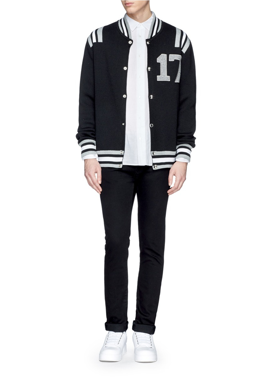 Givenchy '17' Embroidery Stripe Varsity Jacket in Black for Men