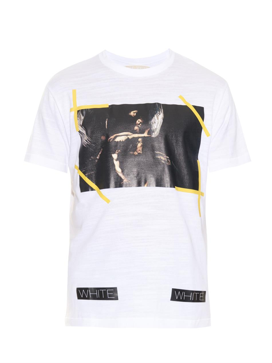 lyst off white c o virgil abloh new caravaggio print t shirt in white for men. Black Bedroom Furniture Sets. Home Design Ideas