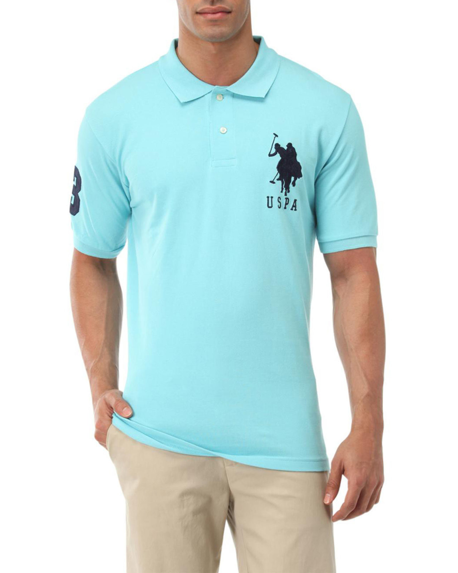 U s polo assn big logo polo shirt in blue for men lyst for Us polo shirts offers