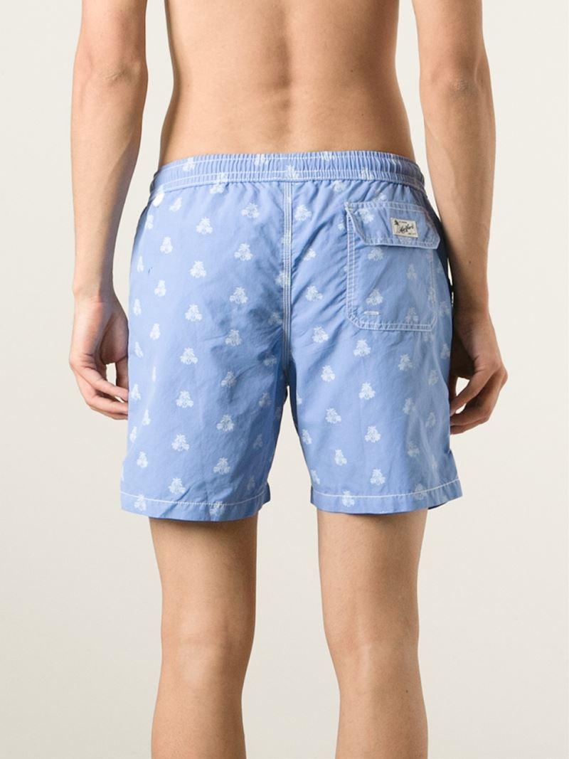 dca686ebd7 Hartford Palm Tree Print Swim Shorts in Blue for Men - Lyst