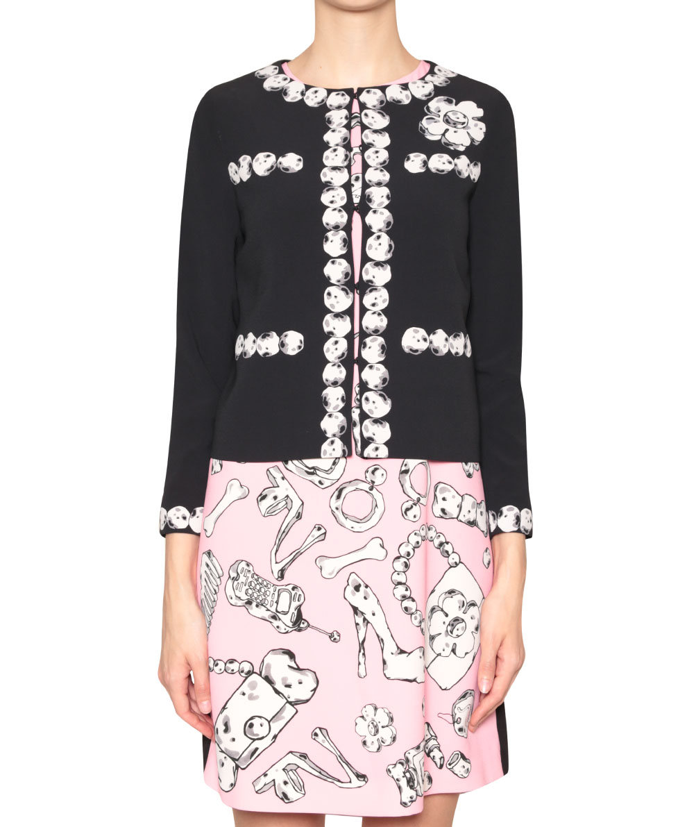 Lyst Boutique Moschino Pietre Print Crepe Jacket In Black