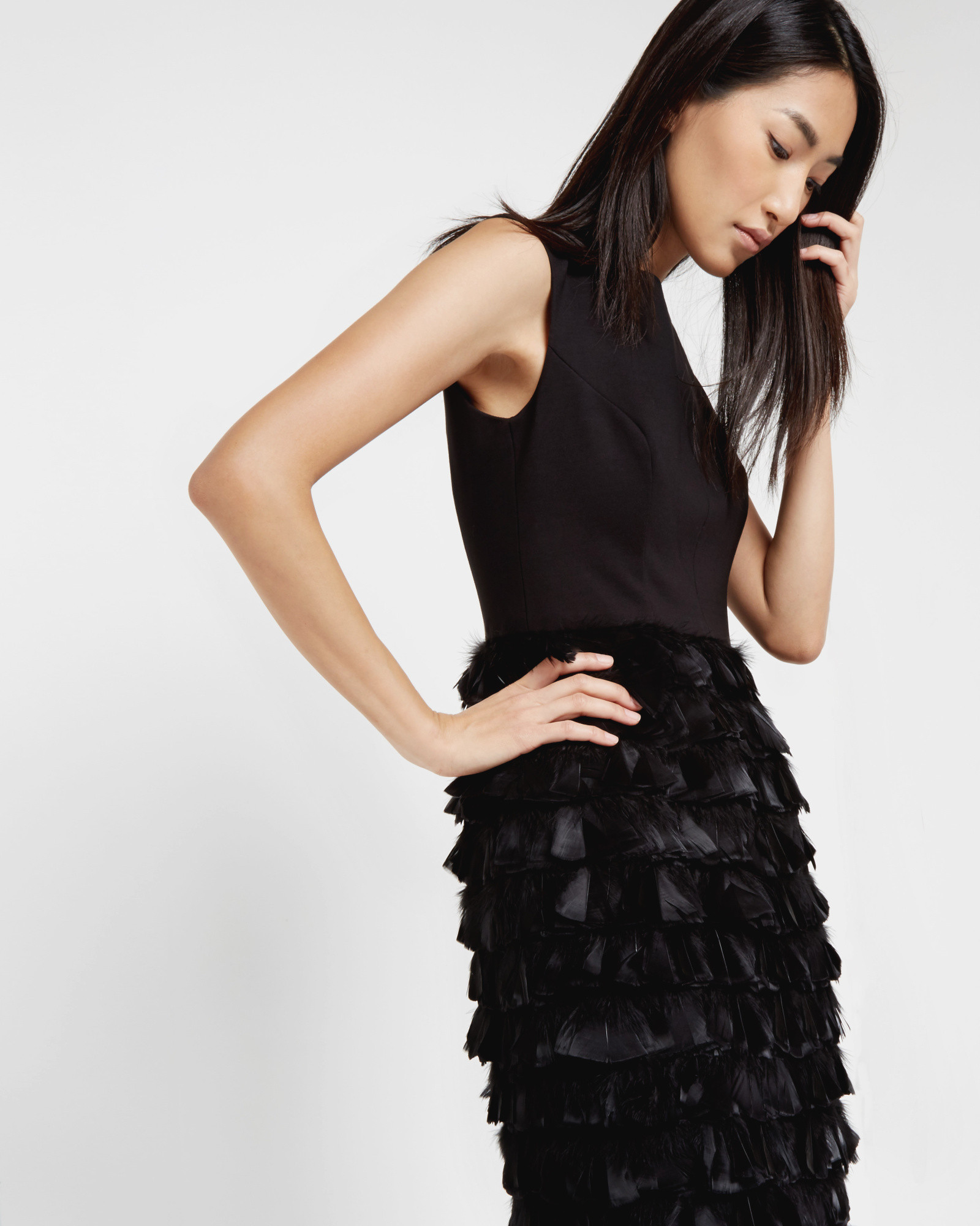 Lyst Ted Baker Feather Skirt Dress In Black