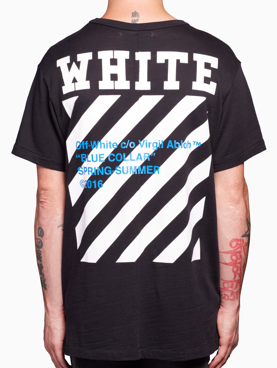 Off-white c/o virgil abloh Blue Collar T-shirt in Black for Men | Lyst