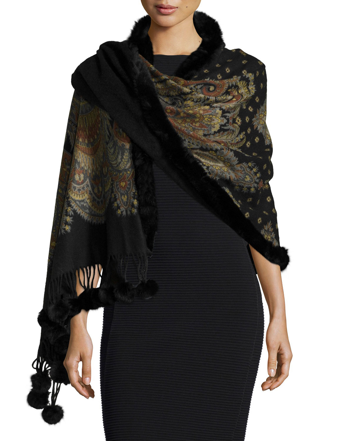 Gorski Paisley Cashmere Reversible Wrap With Fur