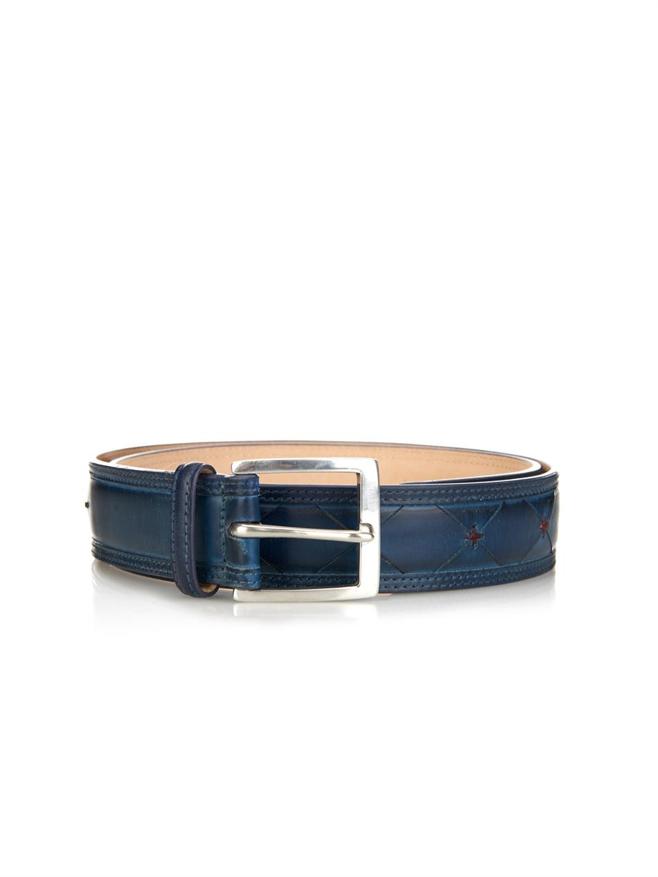 paul smith contrast stitch leather belt in blue for lyst
