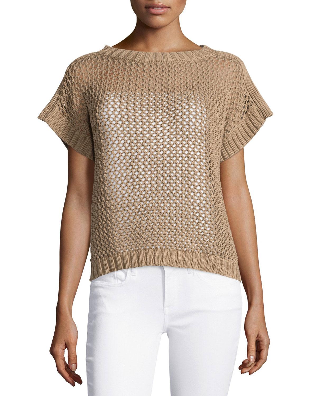 Lafayette 148 new york Open-knit Short-sleeve Sweater in Brown | Lyst