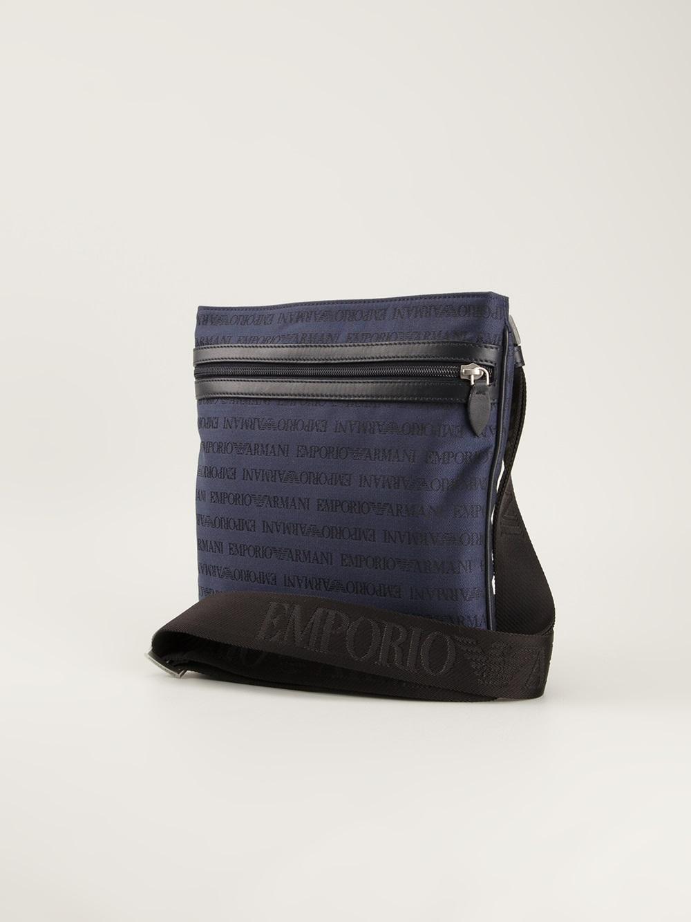 Lyst - Emporio Armani Logo Messenger Bag in Blue for Men 5fcaeb6e94e0a