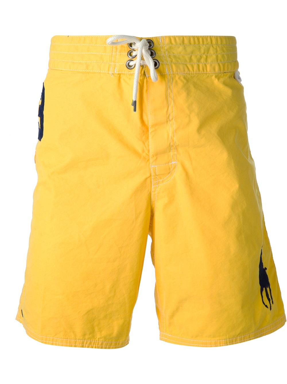 Lyst Polo Ralph Lauren Logo Bermuda Shorts In Yellow For Men