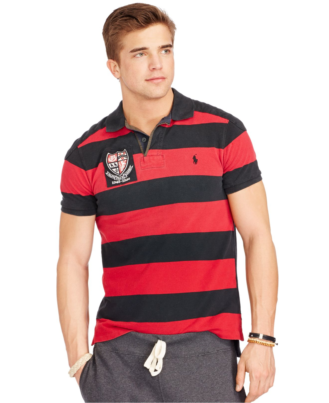 ccd0a9857cd ... best lyst polo ralph lauren custom fit pieced mesh rugby shirt in red  45827 64324