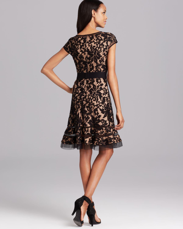 Tadashi shoji Cap Sleeve Horsewire Lace Dress in Black   Lyst