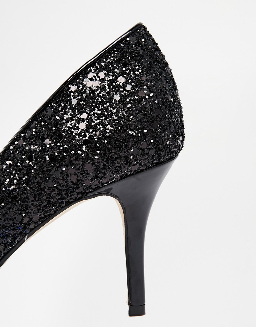 04dbb24f4eb Black Glitter Mid Heel Shoes - Style Guru  Fashion