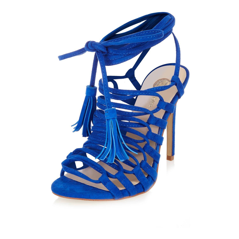 River island Blue Strappy Tassel Sandals in Blue | Lyst