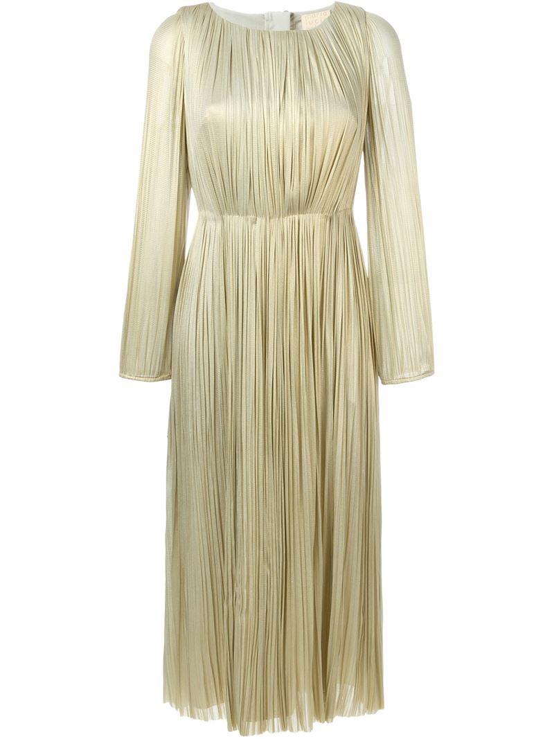 Maria Lucia Hohan Metallic Pleated Midi Dress In Natural Lyst