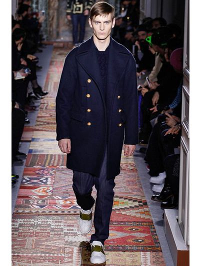 online sale luxury aesthetic wholesale sales Valentino Wool and Alpaca Blend Peacoat in Navy (Blue) for ...