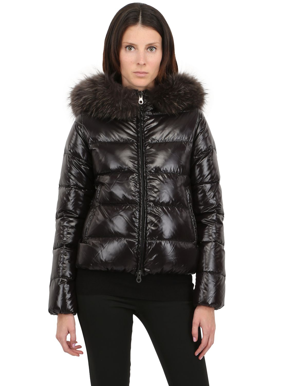 Duvetica Adhara Nylon Down Jacket With Fur In Black For