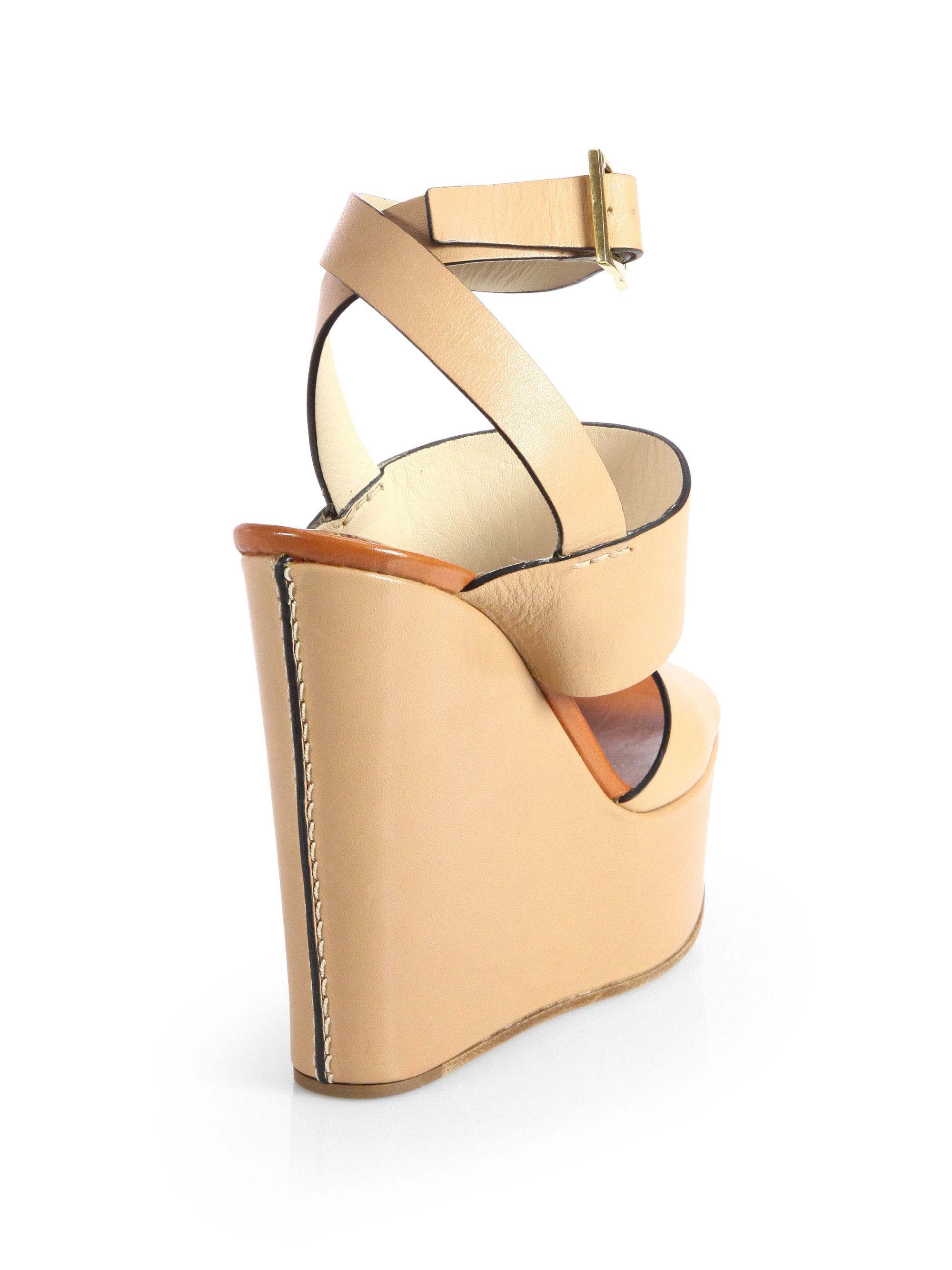 5c7abcd5b3722 Lyst - Chloé Leather Anklestrap Wedge Sandals in Natural