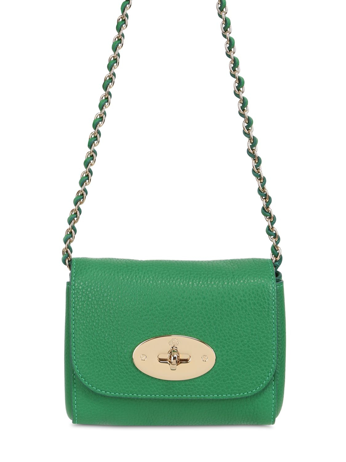 e2b28e125760 ... usa lyst mulberry mini lily grained leather shoulder bag in green 35214  48f38 ...