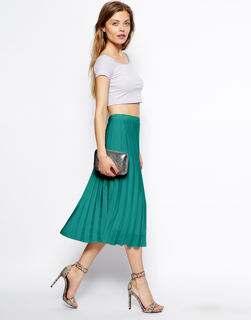 Asos Pleated Midi Skirt in Green | Lyst