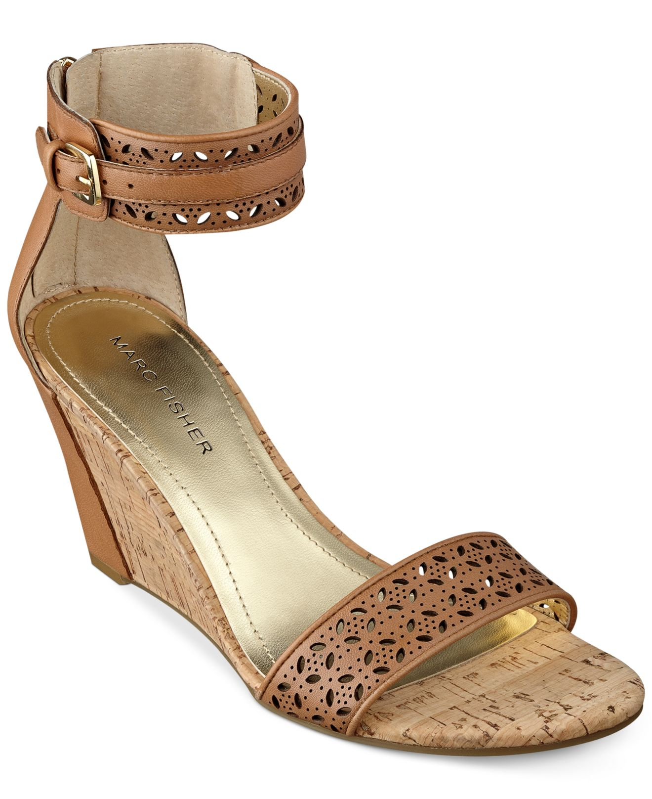 Lyst Marc Fisher Coley Wedge Sandals In Brown