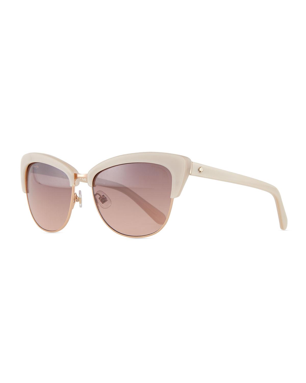 Kate spade Dual-rimmed Cat-eye Sunglasses in Beige | Lyst