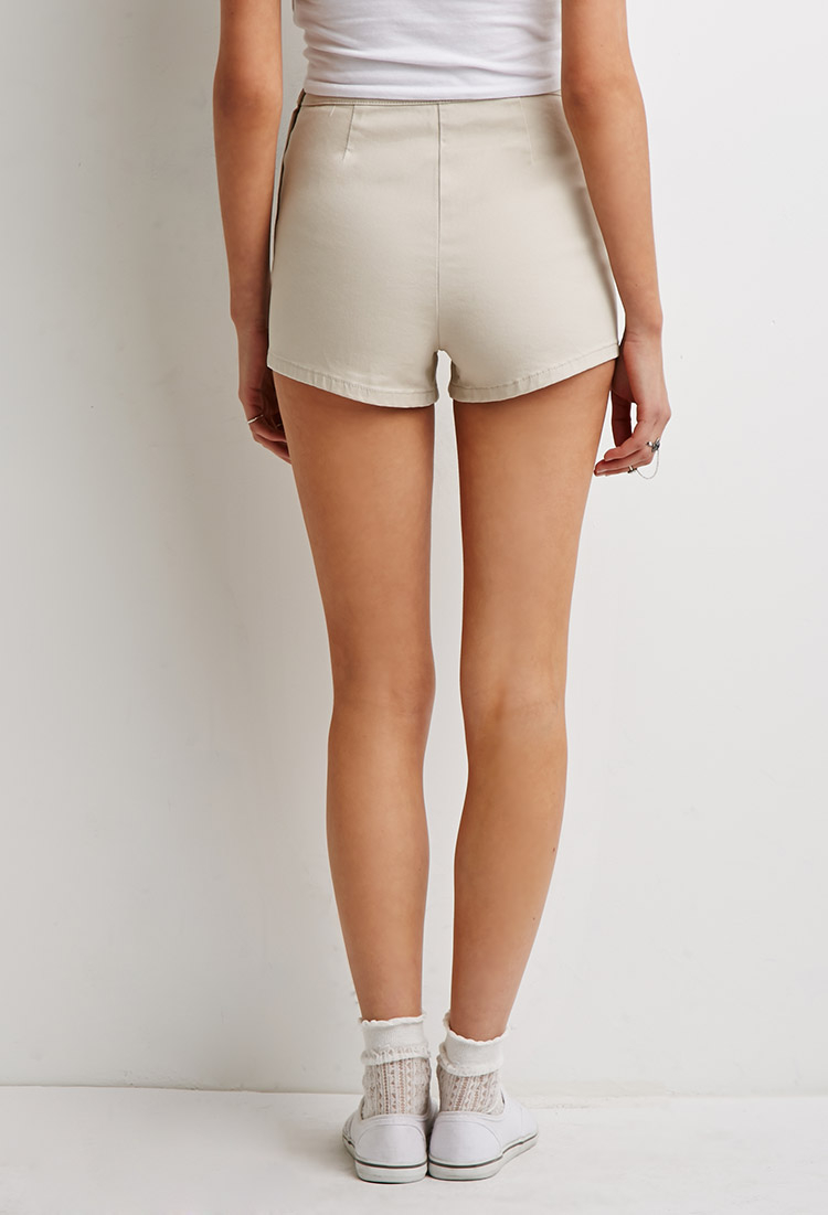 Forever 21 High-waisted Chino Shorts in Natural | Lyst