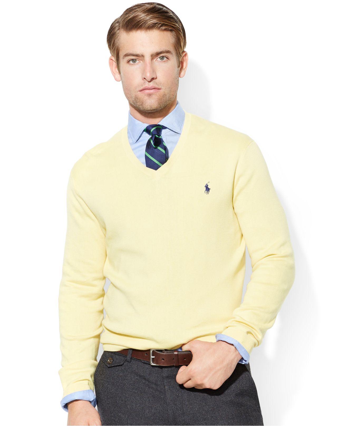 polo ralph lauren; lyst polo ralph lauren pima cotton v neck sweater in  yellow for men