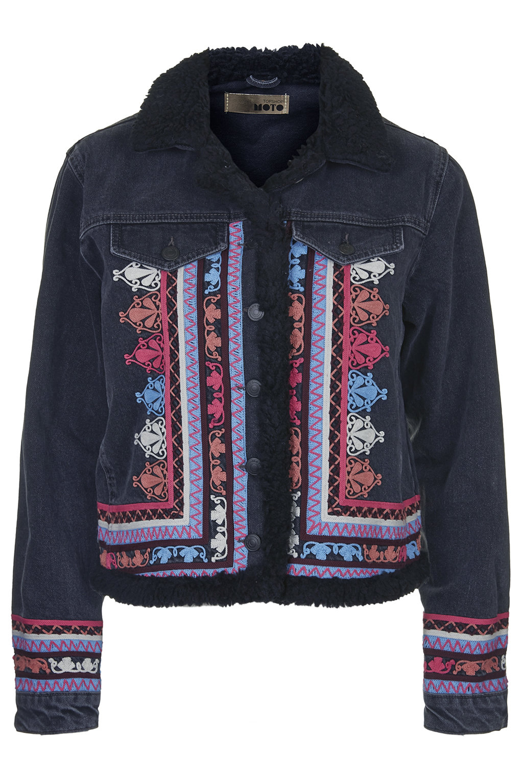 Topshop moto denim embroidered jacket in black lyst for Womens denim shirts topshop