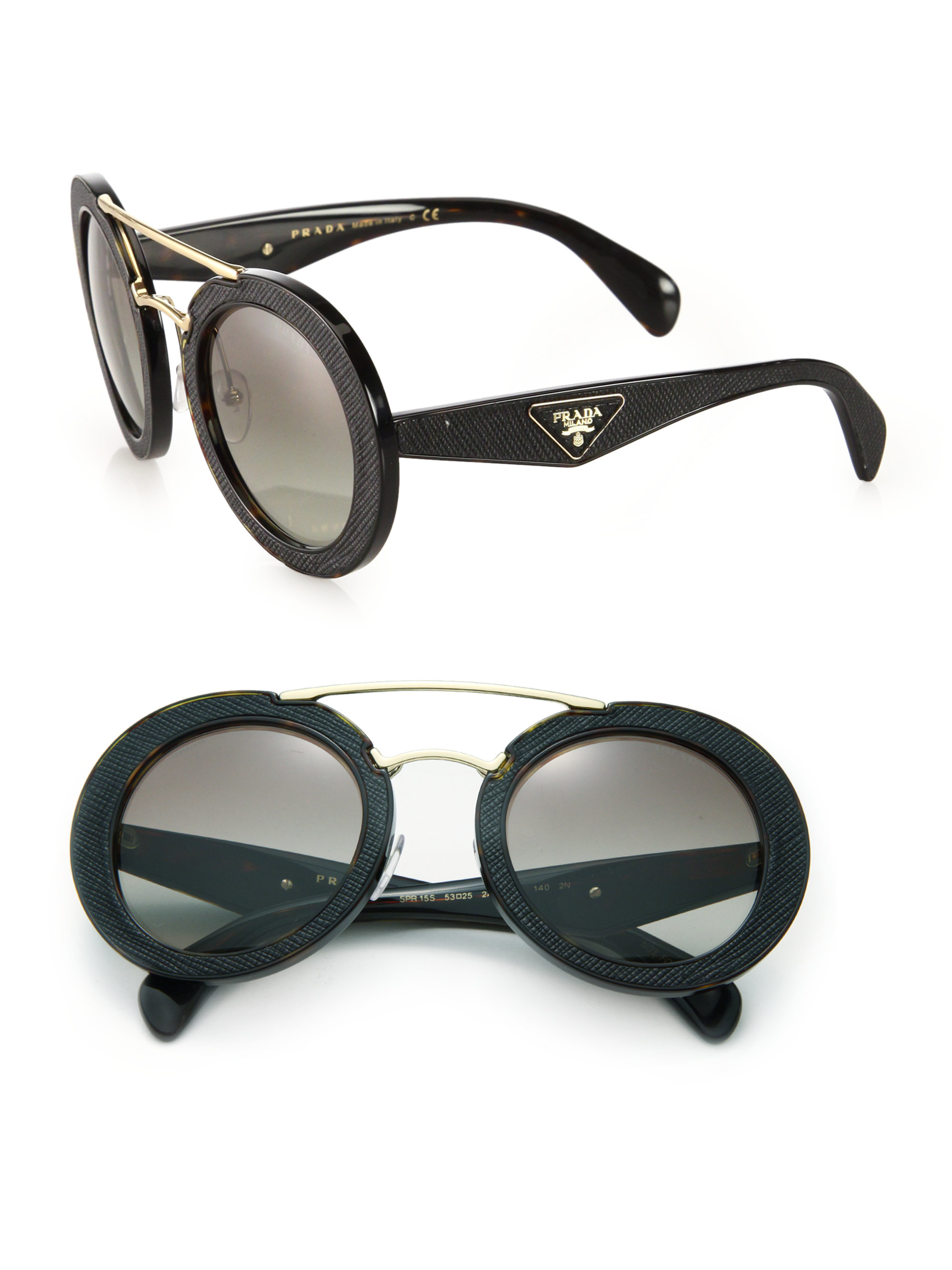 6d91911fd212 Lyst - Prada Ornate 15ss 53mm Saffiano Leather Round Sunglasses in Black