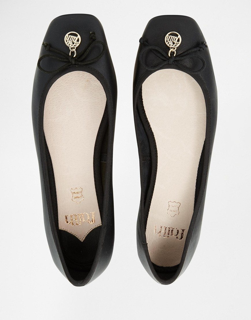 Faith Austin Leather Square Toe Ballet Flats Black In