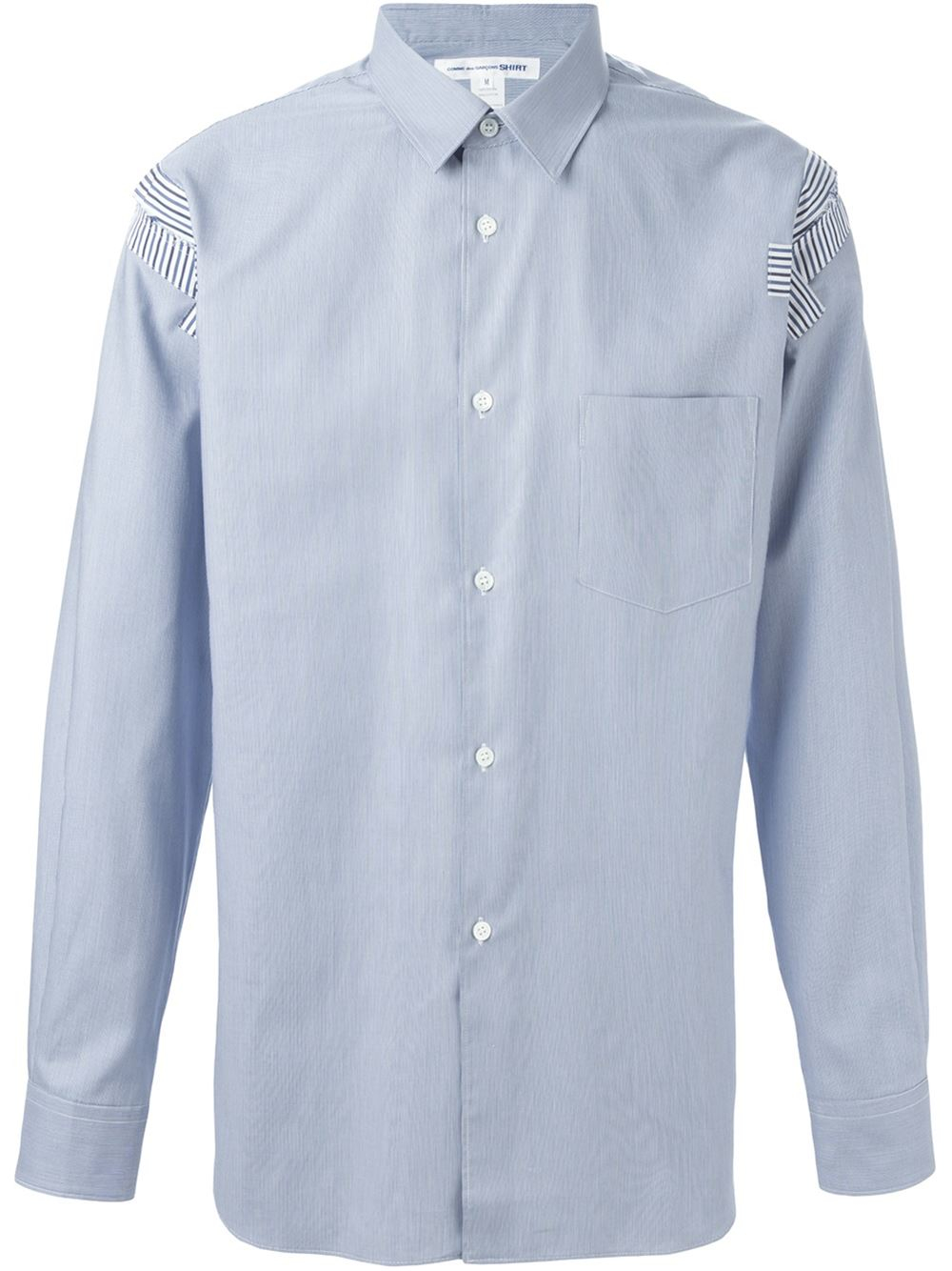 comme des gar ons shoulder patch shirt in blue for men lyst. Black Bedroom Furniture Sets. Home Design Ideas