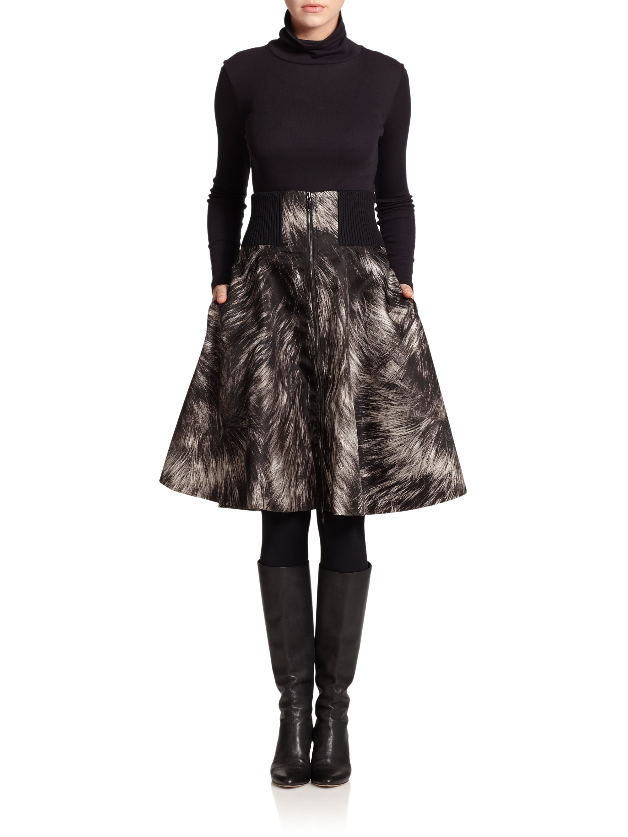 moncler printed high waisted skirt in black lyst