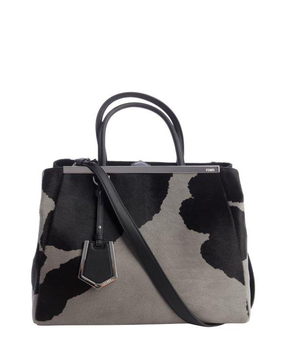 ea3211c7c69d Lyst - Fendi Black And Grey Calf Hair  2Jours  Medium Shopper Tote ...